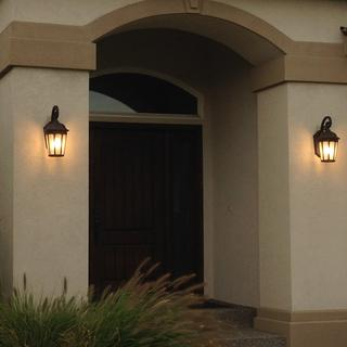 Courtyard Wall Light - Great looking outside wall light with bronze finish & seedy glass.  Love 'em!