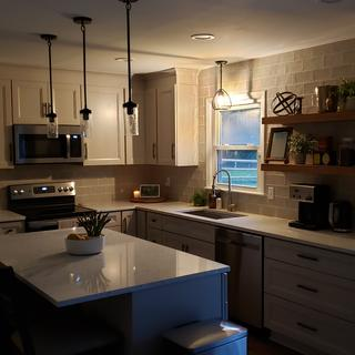 Perfect accent light to the rest of our remodeled kitchen.
