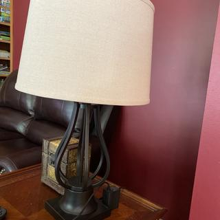 Fabulous lamps! Large lamps that give off lots of light. Love the easy access to an outlet too.