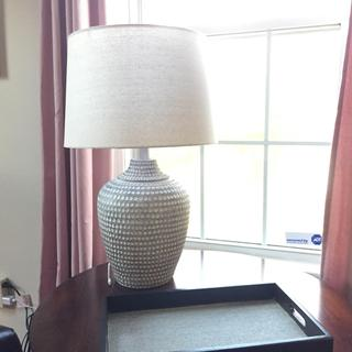 Large lamp, very good quality and easy to assemble. Arrived quickly as well.