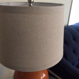 Unlit lampshade close-up, Oatmeal Linen color shade.
