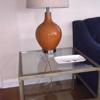 Unlit lamp, photo with flash in natural light - *slightly* warmer tone to the orange than online pic