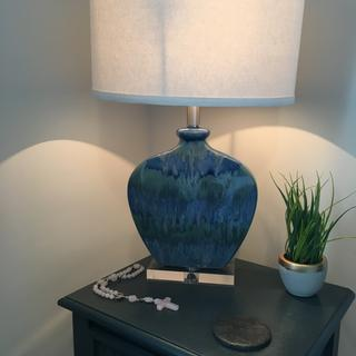 Beautiful lamp! Exquisitely packaged. Perfect for the small table in my spare bedroom!