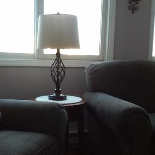 These lamps go nicely in our new room .