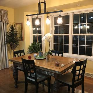 Adding my new light enhances my antique table and dining area! Excellent quality