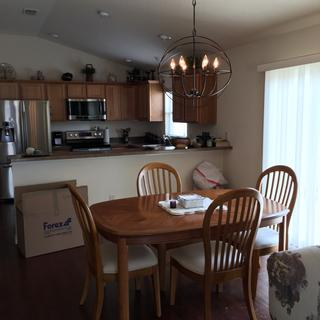 Adds light to kitchen as well as dining area.