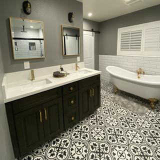 Matte black and polished gold finish was just what we were looking for for our new Master Bath!