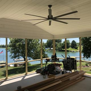 Screen porch isn't finished but the fan looks good.