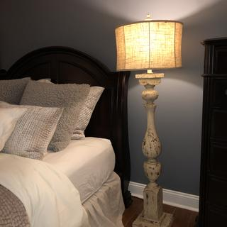 I receive this beautiful Forty West Anderson Rustic White Column Floor Lamp for my bedroom