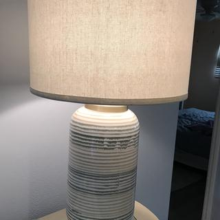 Absolutely striking against wall and buffet.  Thank you LAMPS PLUS-'found the ONE'