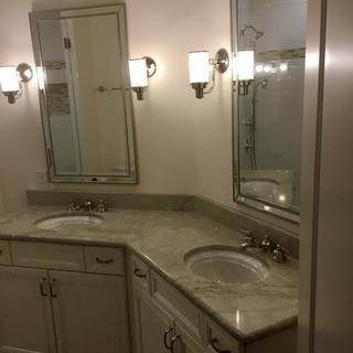Beautiful mirrors. Adds class to a bathroom remodel.