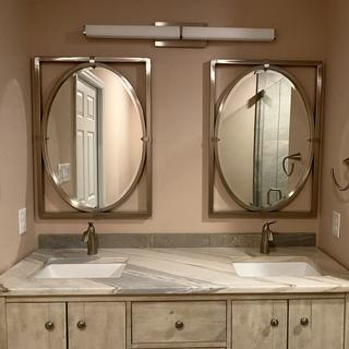Mirrors look great and match the brushed nickel finishes.  The picture doesn't do it justice.