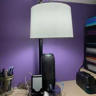 Great desk lamp. I can charge my speaker and my phone at the same time all on the base of the lamp.