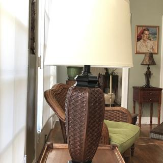 Faux Wicket Jar Table Lamp in Sun Room with wicker furniture