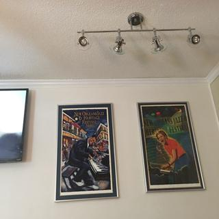 Track lightning to highlight Jazz Fest posters and living space.