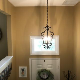 Very pleased with my new open frame lantern-style entrance chandelier.