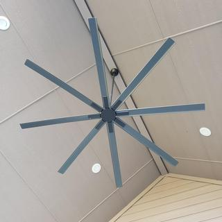 We love and get tons of complaints on our fan. 84in with 60in ext for our outdoor patio.