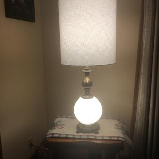 With the night lite on. Beautiful lamp shade from  Lamps Plus