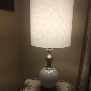 Mid century lamp over 50 years old.  Perfect lamp shade from Lamps Plus. Com