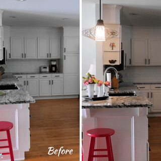 Before and After Over Counter Light Fixture   @FanningSparks