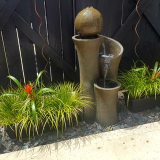 Perfect outdoor fountain!  Beautiful sound and mood lighting, especially at night.