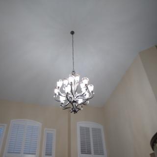 Light all the way up. 40 watt light bulbs.