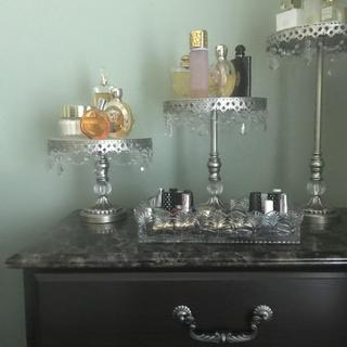 I used my cake stands for my perfume. I have gotten so many compliments, I have the silver.