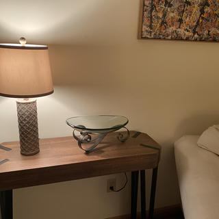 This lamp is perfect on my living room table. The bowl also came from Lamps Plus - both beautiful!