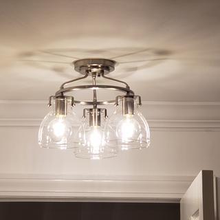 Bellis 14 1/2 inch Wide Brushed Nickel 3-Light Ceiling Light
