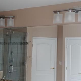 (2) Possini Euro Linen Glass 32 inch Wide Chrome 4-Light Bath Light