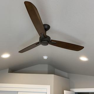 Placed the ceiling fan where the original light for the home office was located.