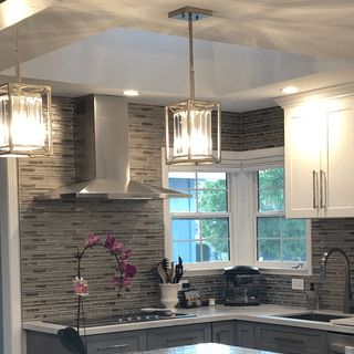 My Lamp Plus pendant lights are my favorite things in my kitchen remodel. Unique & classy.