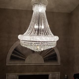 Completely installed Chandelier hanging in our Foyer!!