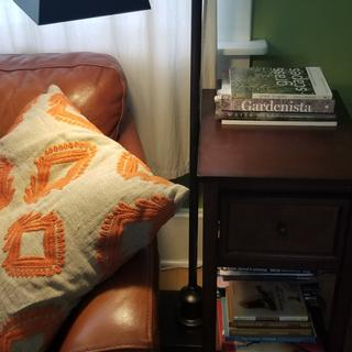 Light on and swiveled for reading.