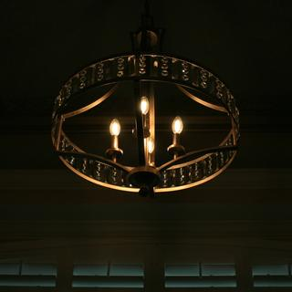 Close up of front foyer chandelier