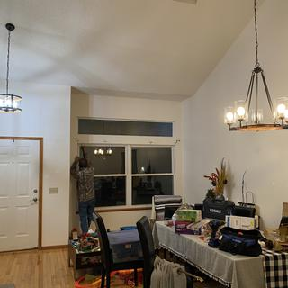 We absolutely love it! We have extremely high vaulted ceilings and this chandelier is perfect