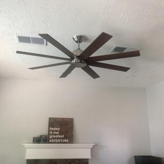 Great over-sized fan! I think it looks good even without the light kit.