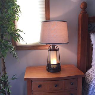 The lamp is a great size for a bedside table.