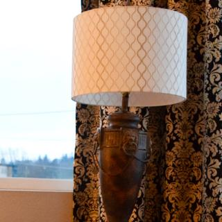 Embroidered Hourglass Lamp Shade perfect in Seattle condo.