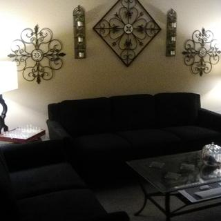 Before area rug and throw pillows