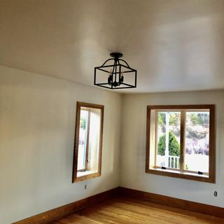 Just finished a living room renovation.  Final touch was the open cage ceiling light.  Love it!