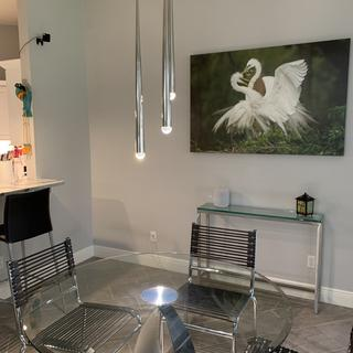 Love the intensity of the light and the grace of the fixture! Very sleek and sophisticated.