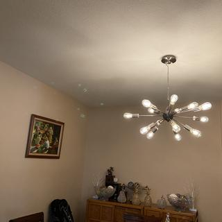 Beautiful chandelier in our dining room,we are very pleased.