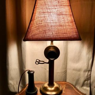 This is a really nice lampshade…I placed it on top of a vintage 1920s brass candlestick phone/lamp.