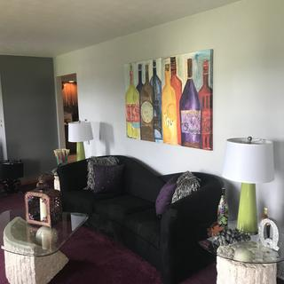 New lamps look great with our new gray walls and wine picture