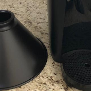 Briarcliff shade next to my black coffee pot.  The fixture is black, not oil rubbed bronze.