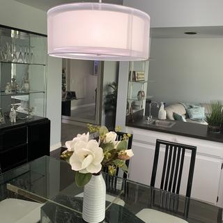 This is a very modern contemporary look which completely changed the look of my dining room