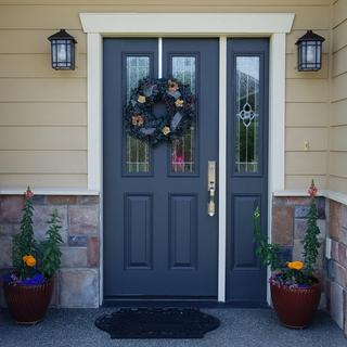 Front door with new lights...so much better!