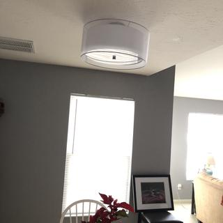 Ceiling light above dining table
