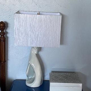 This lamp shade shimmers when the light is on & is just beautiful!